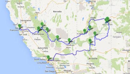 Reiseroute Westküste USA