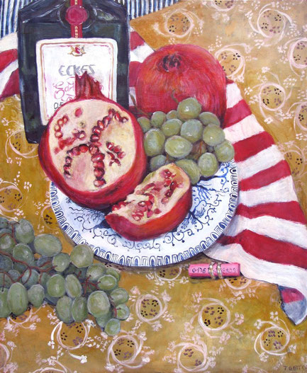 Granatapfel, Format 65 x 85 cm, Eitempera/Öl-Lasur auf Canvas, 2008