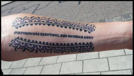 """Tattoo from a guest in memory of Kurt Vonnegut Jr - """"Slaughterhouse 5 Tour"""""""