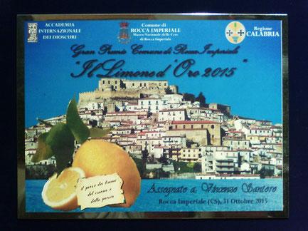 """Targa del Premio """" Il Limone d'Oro 2015 """""""