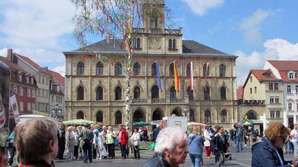 Dienstag: Bei einem Rundgang durch die schöne Altstadt von Weimar verweilen wir auf dem großen Marktplatz vor dem Alten Rathaus.