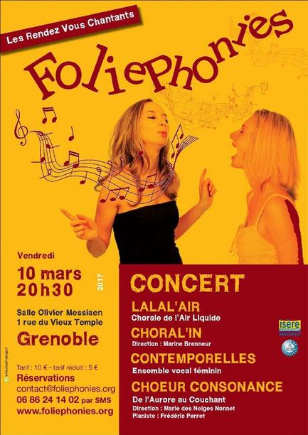 Consonance au Rendez-Vous Chantant de Foliephonies salle Olivier Messiaen Vendredi 10 mars 2017 à 20h30