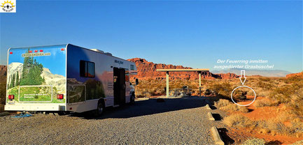 Der Atlatl Rock Campground im Valley of Fire.