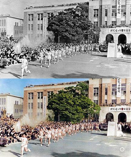 修復・色再現 作業前→作業後比較 1964(昭和39)年10月1日、東京五輪聖火リレーの石川県内2日目