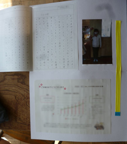 保健の先生から贈られた、年間の身長の変化を表したグラフ付きのお手紙(画面下)と身長の伸びと同じ長さのリボン(画面右)