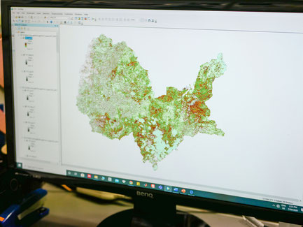 サラが衛星画像で作成した多くの地図の1つ