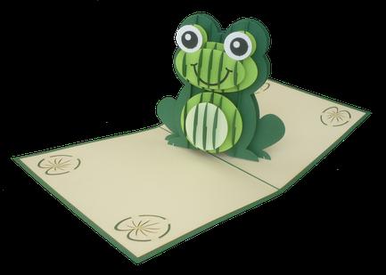 Carte pop-up grenouille - Carte kirigami grenouille