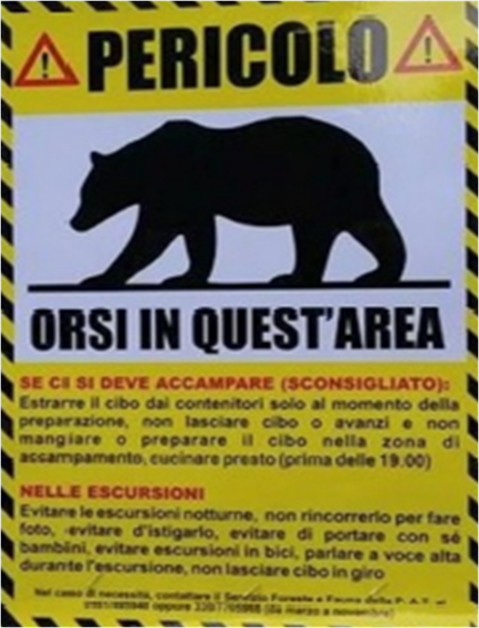 """Affiche italienne """"Pericolo ! Orsi in quest'area"""" - """"Danger ! Ours dans cette zone"""" - 2016"""