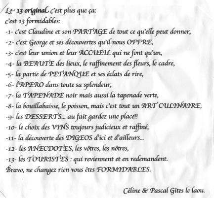 """Témoignage de nos amis du gite """"Le Laou"""" à Mimet"""