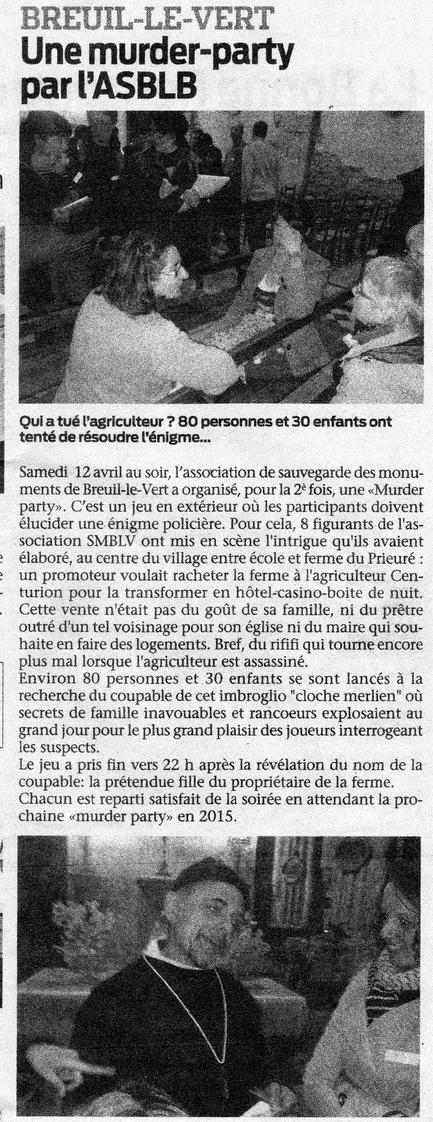 23 avril 2014 - Le Bonhomme Picard - murder party organisée par l'association de sauvegarde de l'église Saint Martin de Breuil le Vert SMBLV