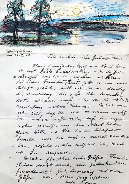 Die Briefe von Erwin Bowien, die er fast täglich schrieb, waren in der Regel bebildert. Dieser Brief entstand anlässlich einer Norwegen Reise am Mjösa See.