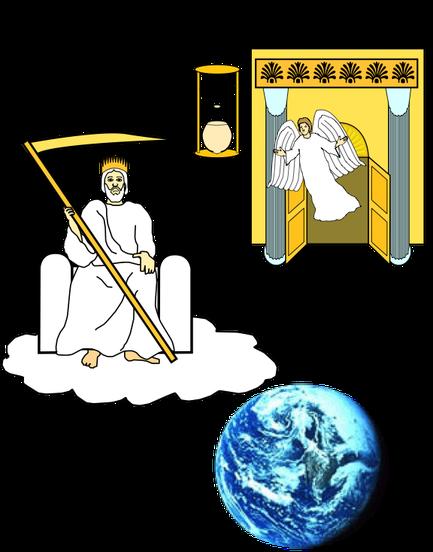 Jésus, le fils de l'homme assis sur une nuée et portant une couronne d'or, a dans sa main une faucille tranchante. La faucille est prête à être utilisée efficacement puisqu'il est précisé qu'elle est tranchante et tenue dans la main.