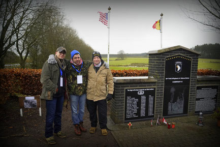 Shane, Matthew and Chris next to the new monument