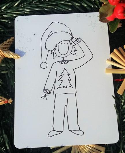 Postkarte zum Ausmalen mit Jungen mit Weihnachtsmütze