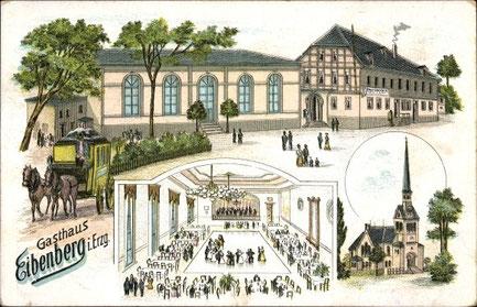 Ansichtskarte um 1904 mit Gasthof und Ballsaal und Postkutsche