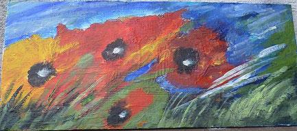 Blauer Mohn, blue Poppies, Acryl auf Leinwand, Christel Thoenes