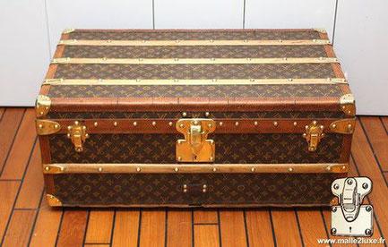 Louis Vuitton cabin trunk - LV Year: 1920  Exterior: Mark 2 stenciled LV canvas   Border: Lozine