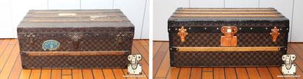 Malle Cabine Louis Vuitton de 1890 Restauration de toile damier Mark I. Lire la suite...