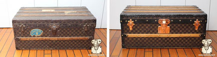 Louis Vuitton Cabin Trunk from  1890 Painting restoration  checkered Mark I . Read more...