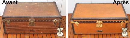 Malle cabine Louis Vuitton circa 1911 Toile bullée, cirée, crasse, nettoyage de la toile vuittonite orange louis Vuitton. Lire la suite...