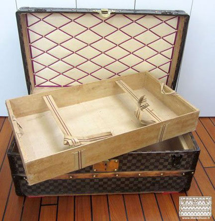 Open vuitton checkered cabin trunk