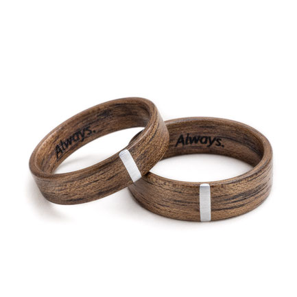 exklusive Holzringe Nuss Aluminium Gravur, Eheringe, Trauringe, Hochzeitsringe, Kunsthandwerk, Partnerringe