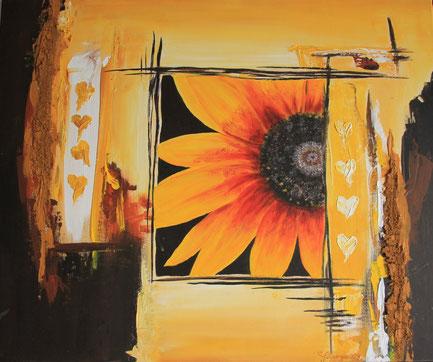 """""""Herbstfenster"""" 50 x 60 cm Acryl und Paste auf Leinwand"""