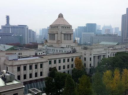参議院会館8階から見た国会議事堂