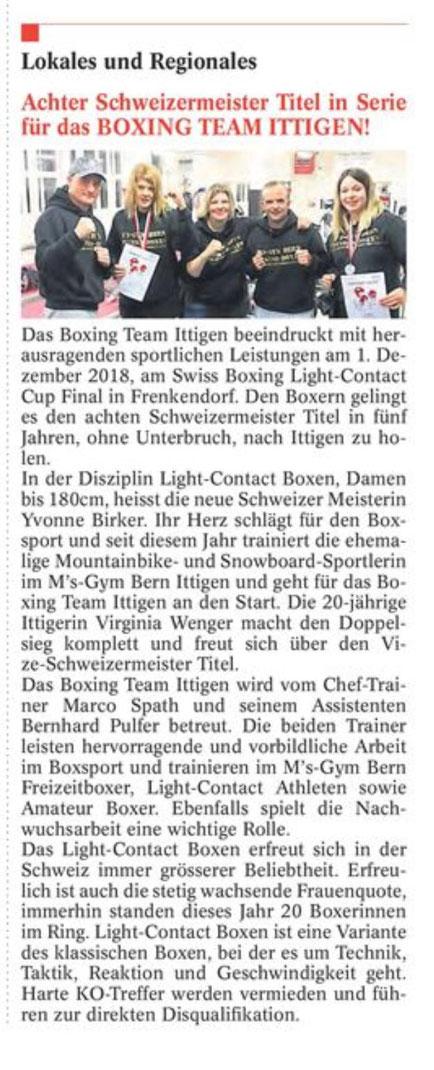 Zeitung Bantiger Post, Ausgabe Dezember 2018 BOXING TEAM ITTIGEN