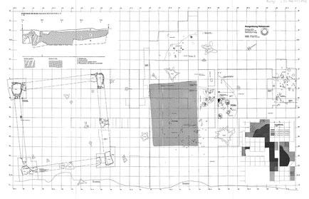 Grabungsplan aus denThurgauer Beiträgen zur Vaterländischen Geschichte, 1977
