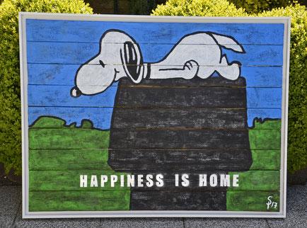 """HAPPINESS IS HOME"" 1,25 m x 1,00 m Painting, Graffiti auf gebranntem Holz im Rahmen, Divo Santino 2017"