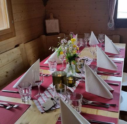 Fluonalp Alpbeizli, Familienfeiern, Vereins- und Firmenanlässe, Hochzeit auf der Alp