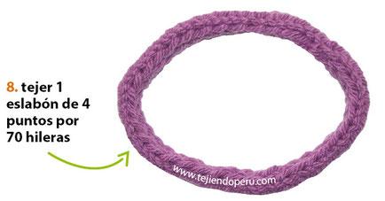 Conjunto de bufanda con gorro de eslabones tejido en dos agujas o palitos