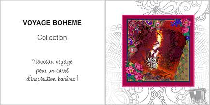 Foulard de soie, ladytie, chaussette, étole, écharpe de la collection VOYAGE BOHEME