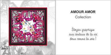 Foulard de soie, ladytie, chaussette, étole, écharpe de la collection AMOUR AMOR