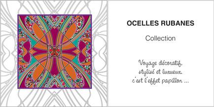 Foulard de soie, ladytie, chaussette, étole, écharpe de la collection OCELLES RUBANES