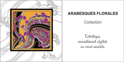 Foulard de soie, ladytie, chaussette, étole, écharpe de la collection ARABESQUES FLORALES