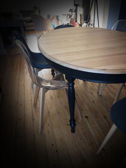 relooking de meuble sarthe le mans table merisier noir bois naturel