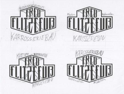 Drafts Logo Redesign for Fred Flitzefuß Kustom Motorcycles Custom, Entwürfe Branding Rebranding by Zuni from BRAVE & BUTT DESIGN STUDIO