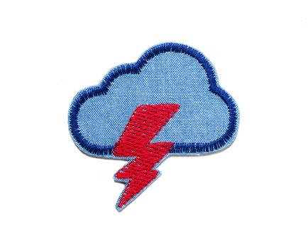 Bild: Patch Gewitterwolke Jeansflicken Blitz zum aufbügeln