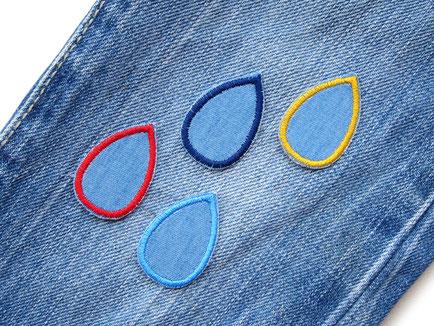 Bild: Bügelbilder aus Jeansstoff in Regentropfen Form, kleine Patches zum aufbügeln