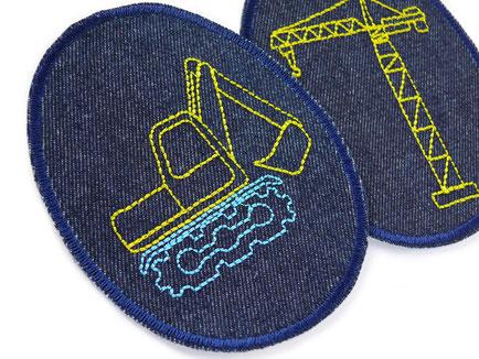 Knieflicken mit gesticktem Bagger, Jeansflicken zum aufbügeln für Jungen