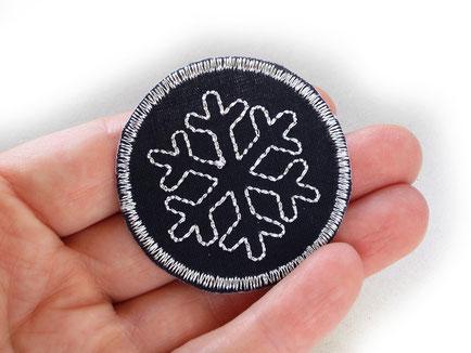 Bild: Schneeflocke Aufnäher, Glitzer Patch zum aufbügeln Accessoire für Kinder und Erwachsene