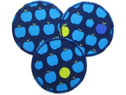 Apfel Hosenflicken, Aufnäher Apfel blau, Flicken zum aufbügeln für Kinder