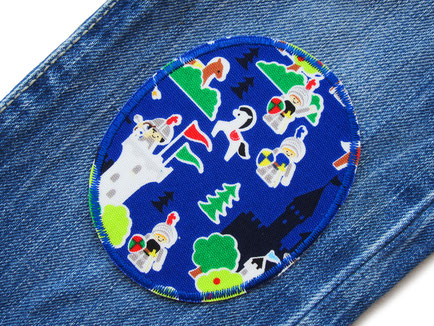 Bild: ovale Flicken zum aufbügeln für Kinder mit Ritter und Burgen