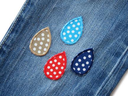 Bild: Bügelbilder aus Stoff in Regentropfen Form mit Punkten, kleine Patches zum aufbügeln