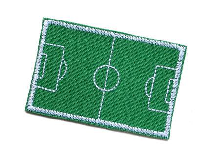 Bild: Fußballplatz Applikation Aufnäher Aufbügler grün