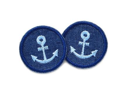 Anker Bügelflicken, Jeansflicken patch mit Anker blau, Flicken Accessoire Erwachsene Kinder