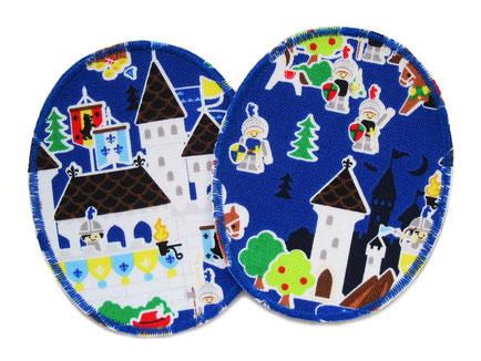 Bild: ovale Knieflicken für Kinder mit Ritter und Burgen