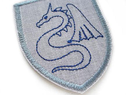 Bild: Drache Bügelbild, Wappen Applikation Aufnäher Bügelflicken Aufbügler für Jungen